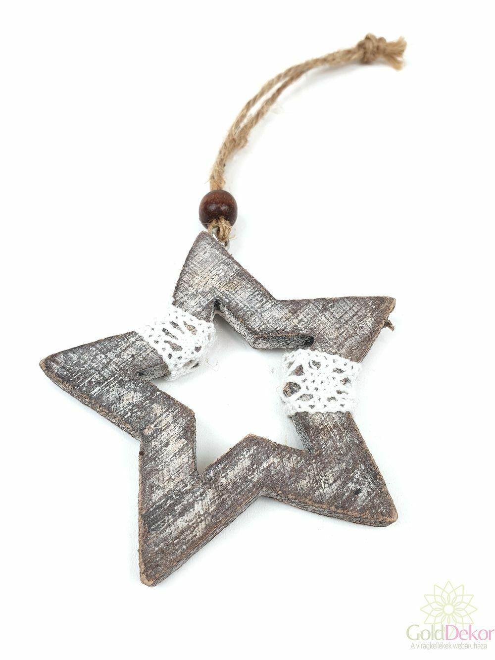 Akasztós fa csillag csipkével