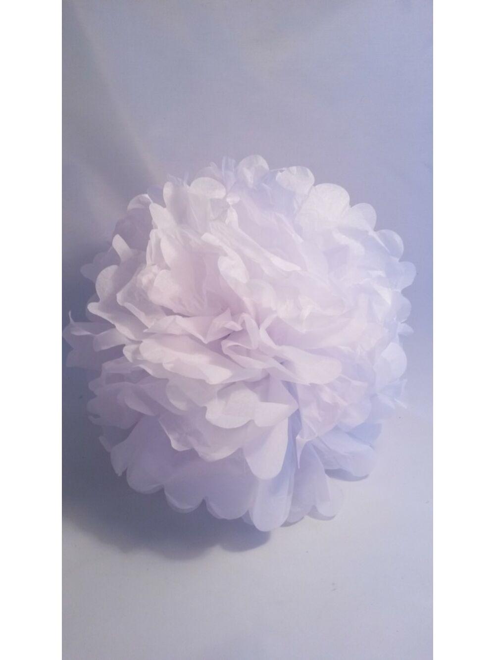 Papír dekor virág gömb - FEHÉR