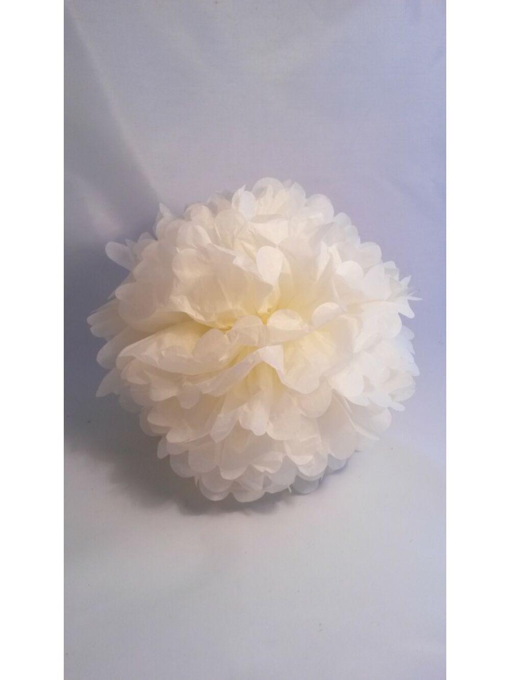 Papír dekor virág gömb - KRÉM