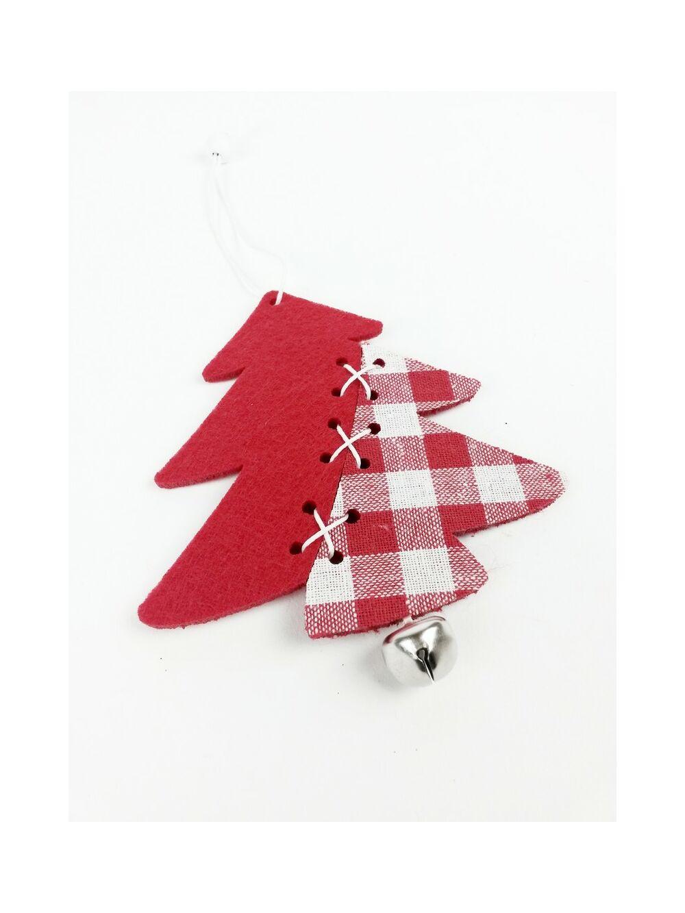 Piros kockás filc függelék - Fenyőfa