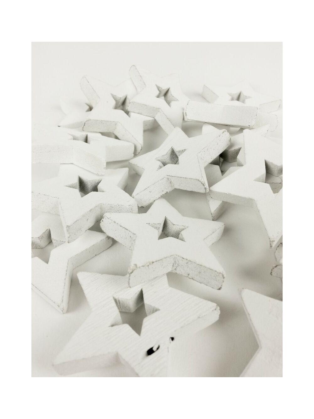 Fa dekor lyukas csillag*20 - Fehér