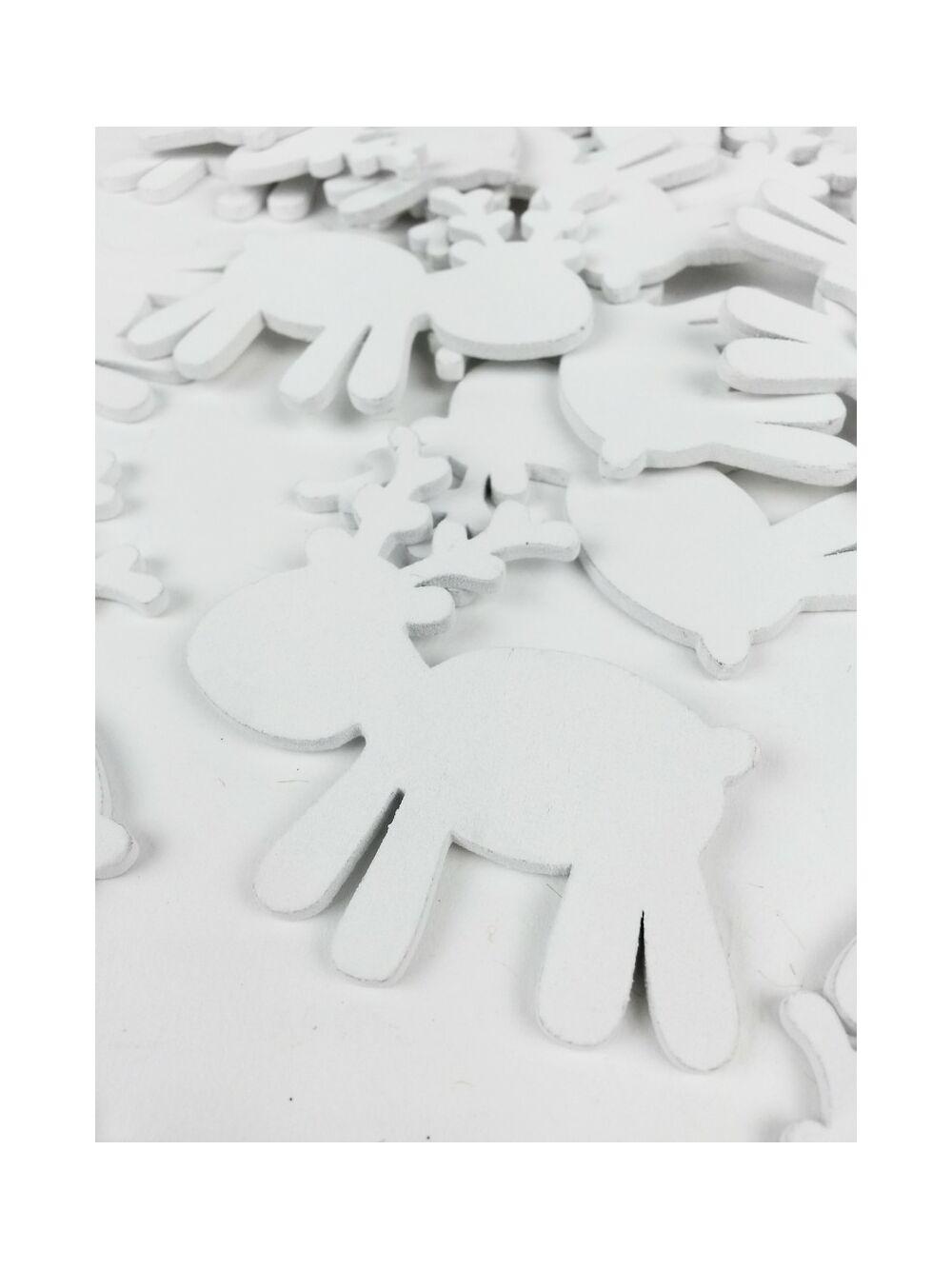 Fa dekor rénszarvas játékos - Fehér