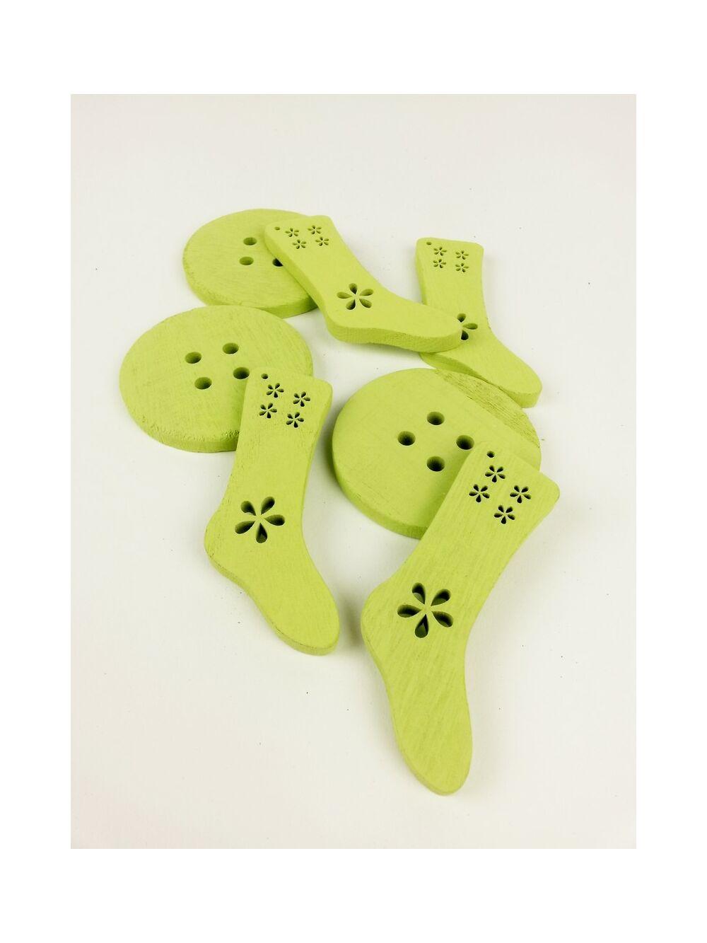 Fa dekor zokni gomb - Zöld
