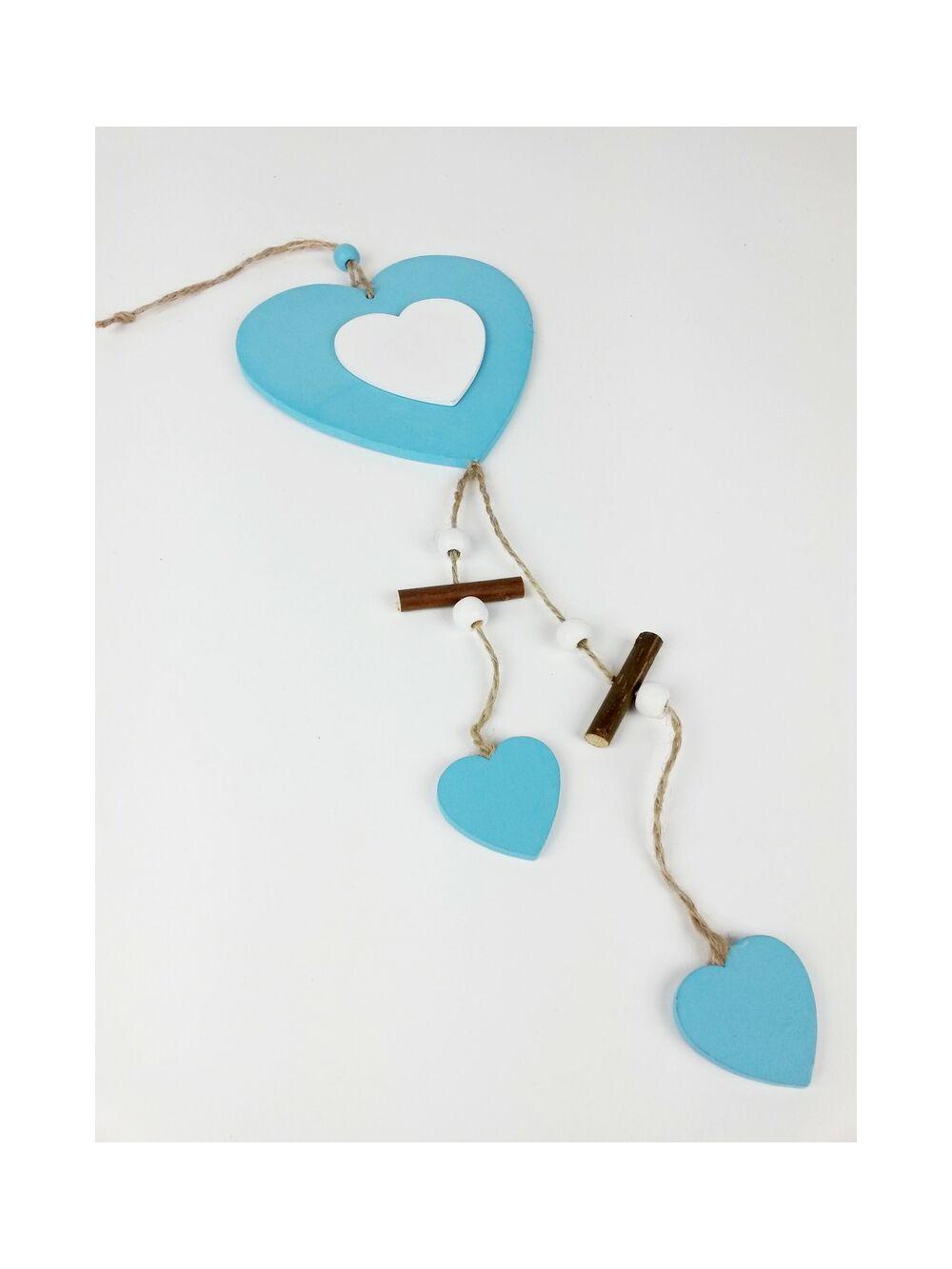 Fa darabos fa szív függő - Kék