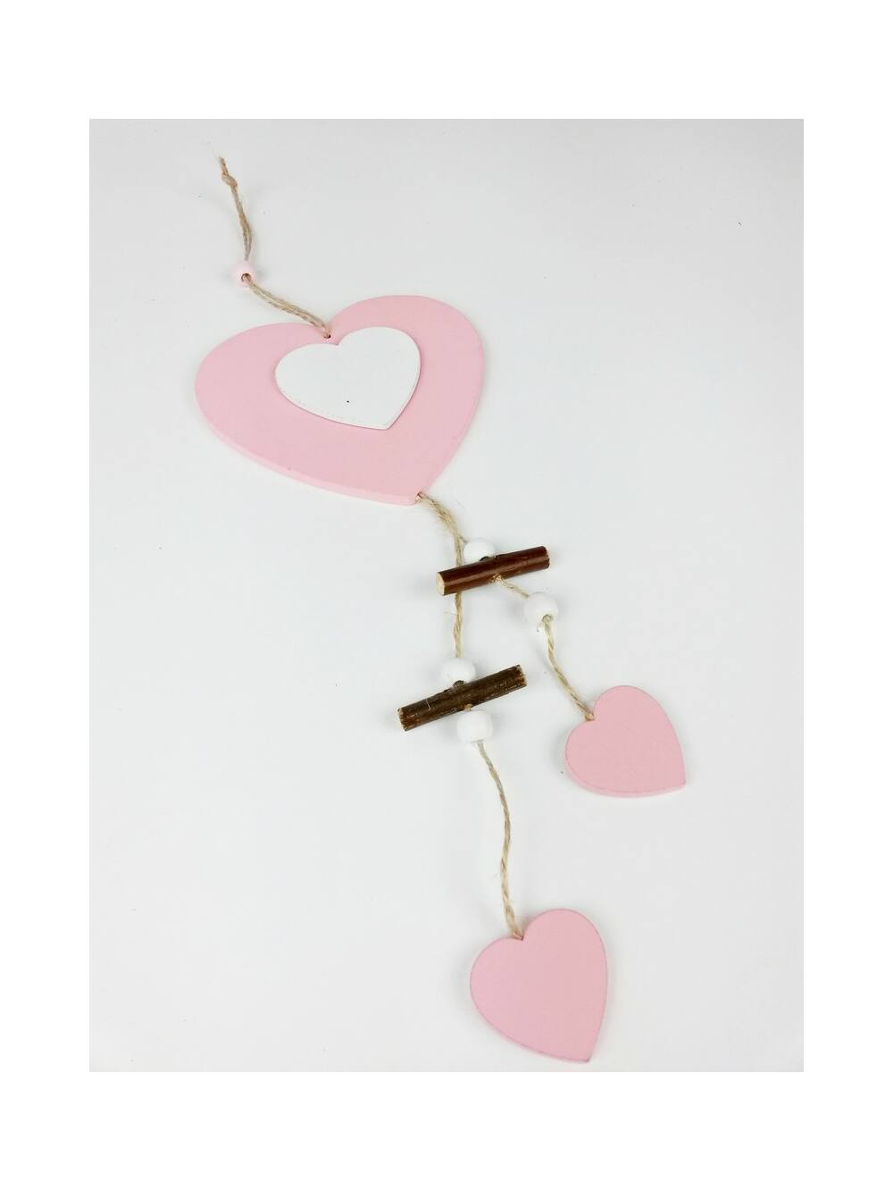 Fa darabos fa szív függő - Rózsaszín