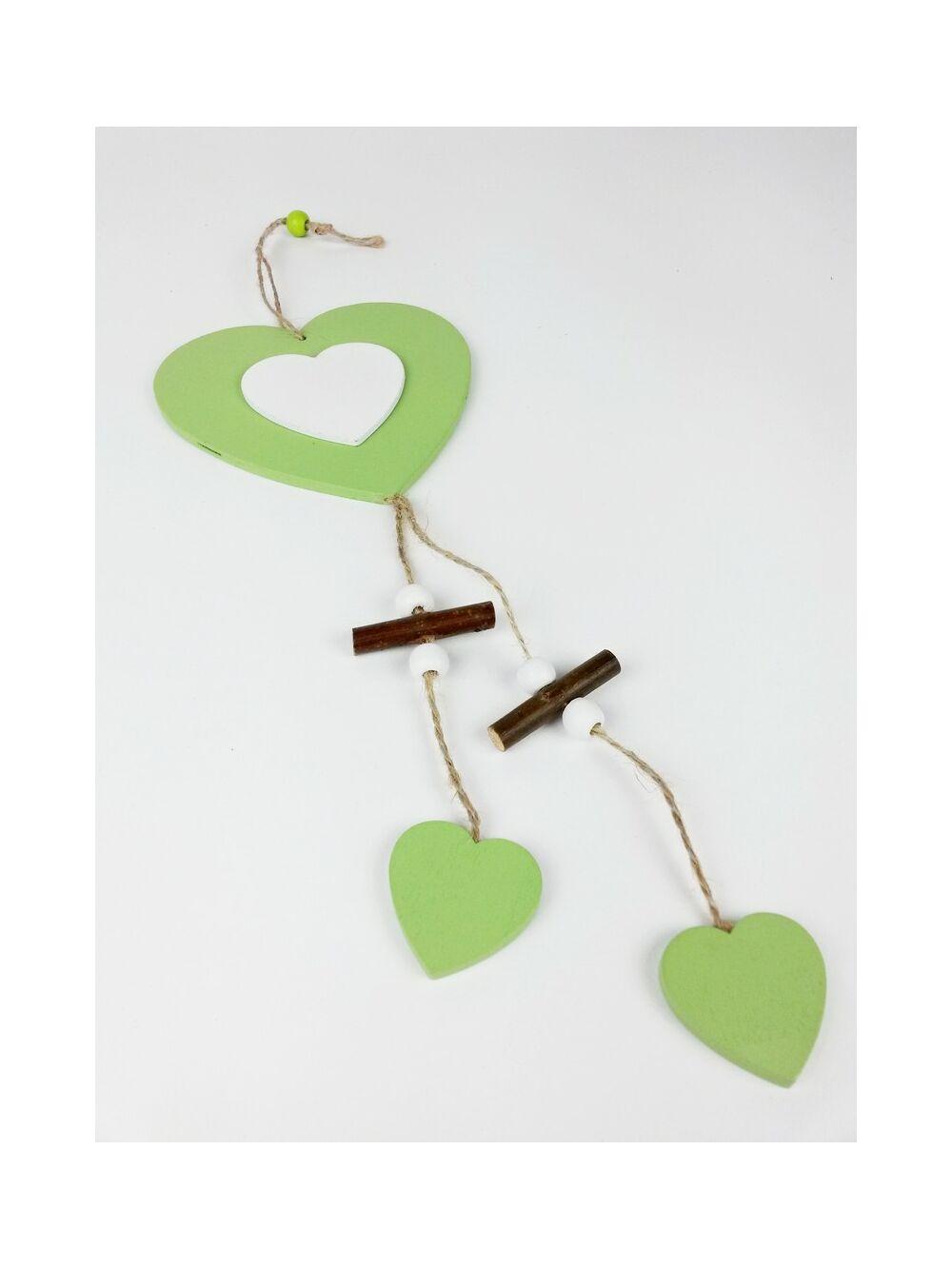Fa darabos fa szív függő - Zöld