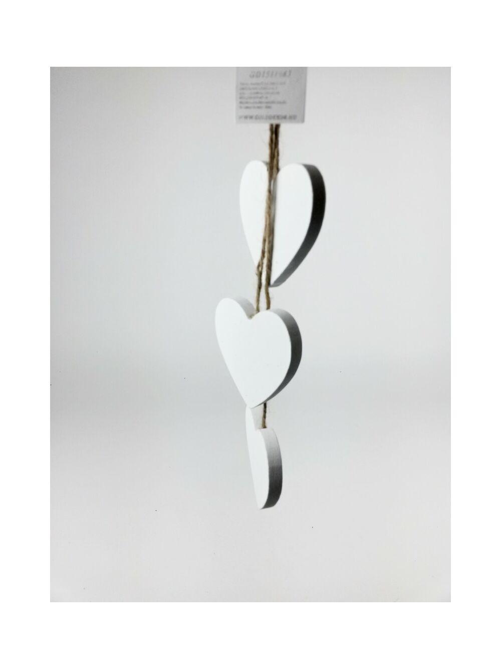 Szív függő 3 db-os - Fehér
