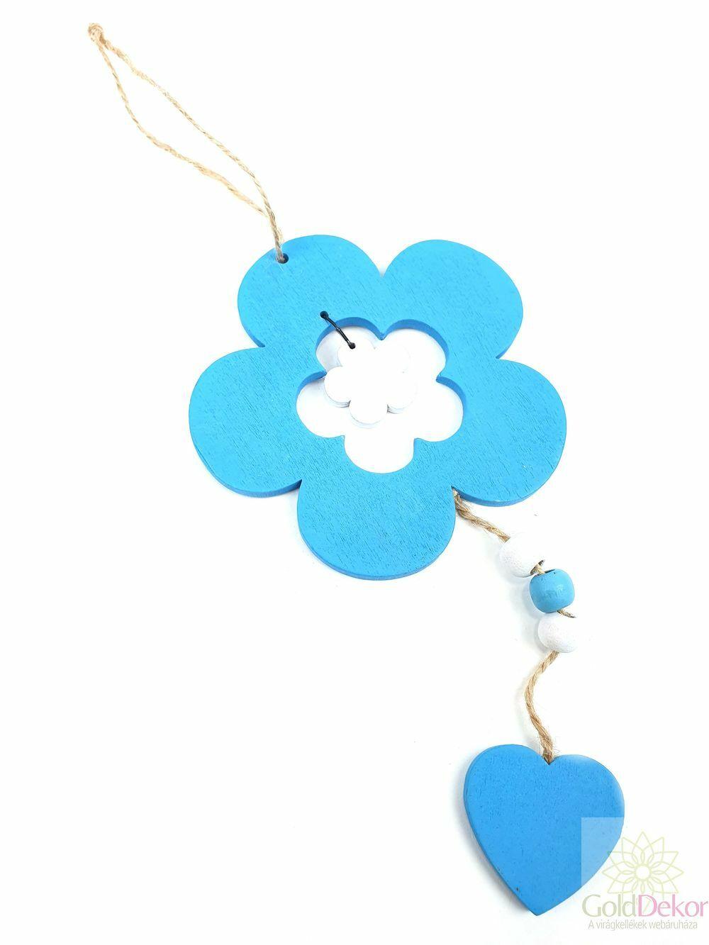 Akasztós fa virág szívvel - Kék