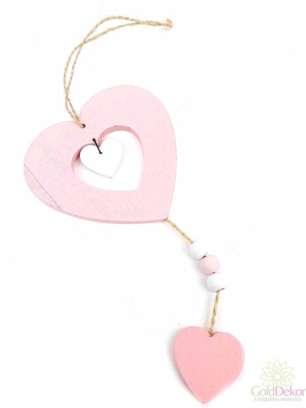 Fa szív függő - Rózsaszín
