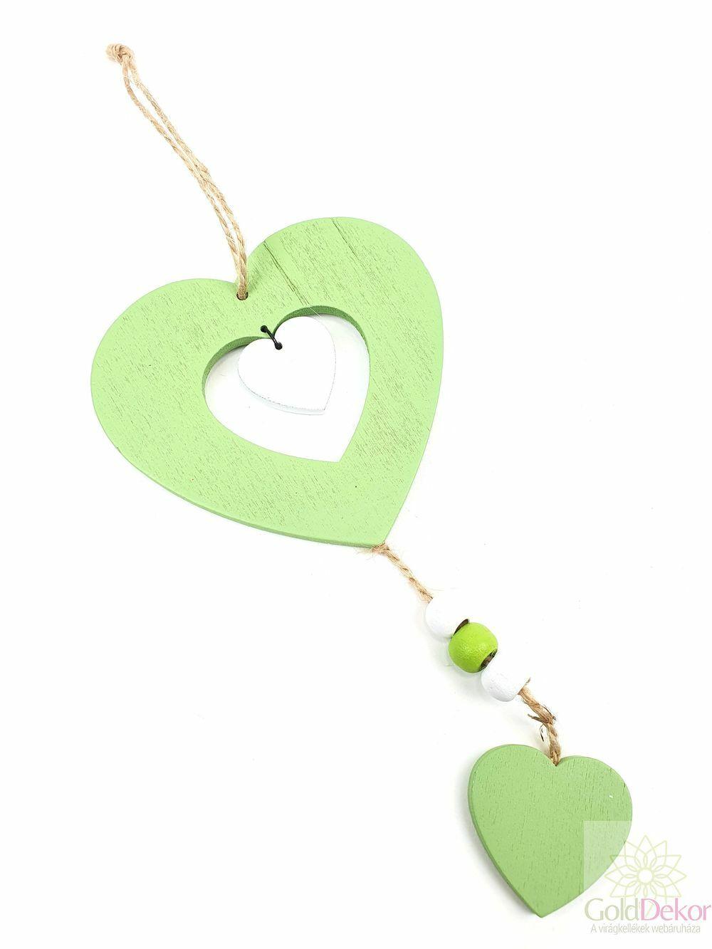Fa szív függő - Zöld