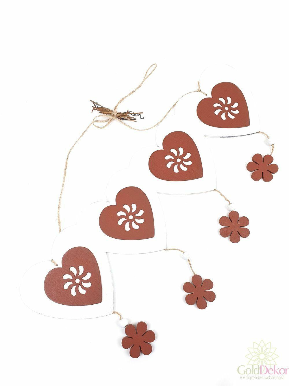 Akasztós virágos szív tábla - Fehér