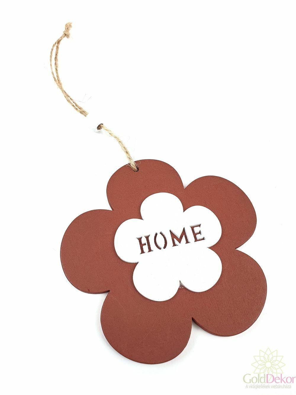 "Akasztós fa virág ""Home"" - Barna"