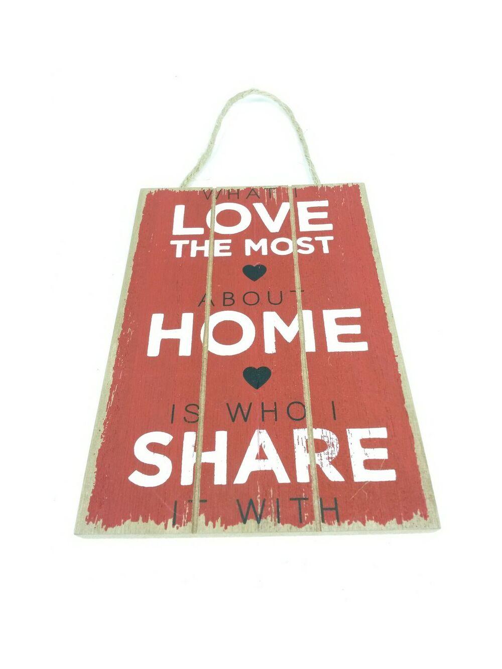 Feliratos dekor tábla Love Home Share - Bordó