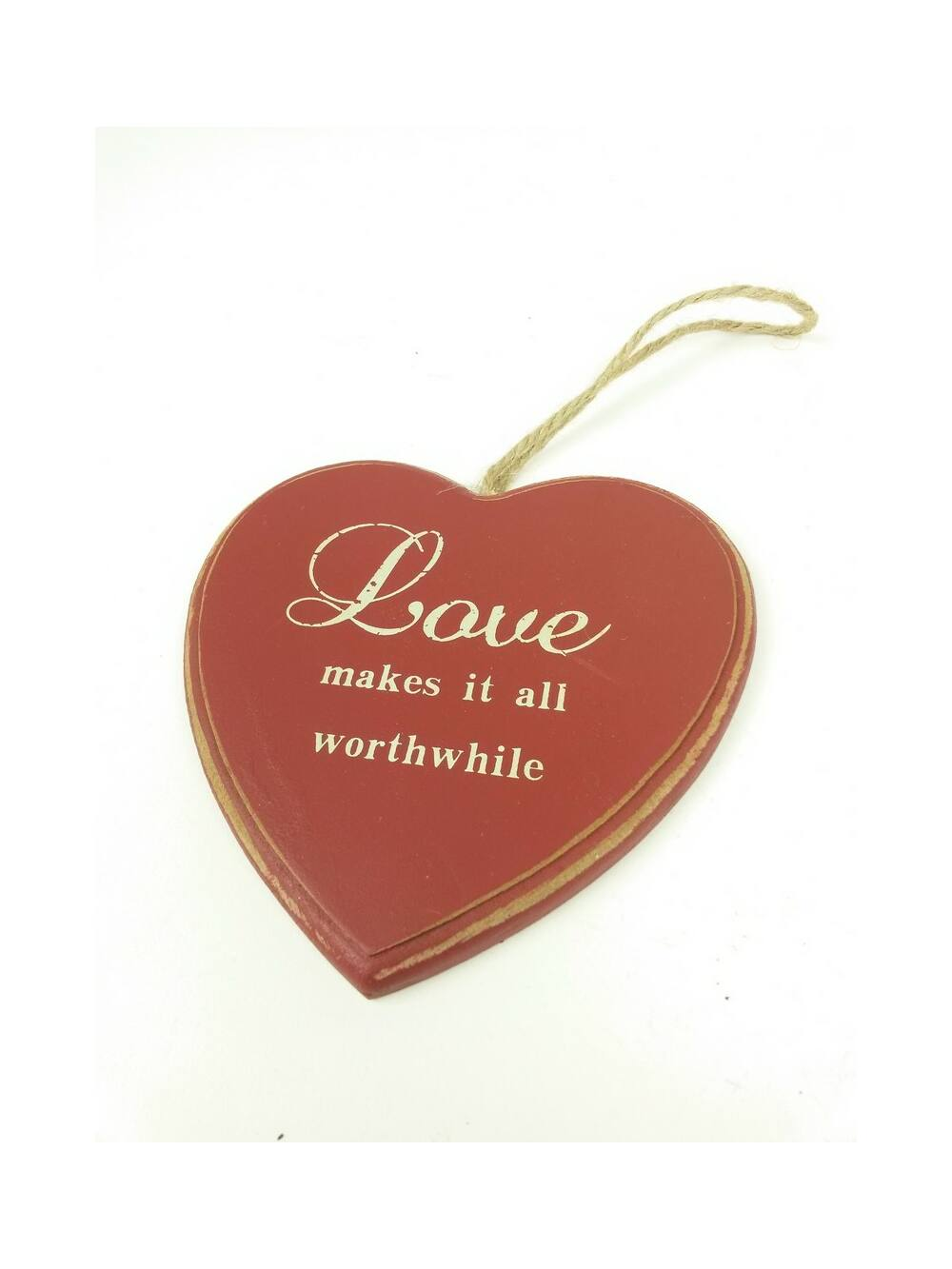 Feliratos dekor tábla szív - Bordó