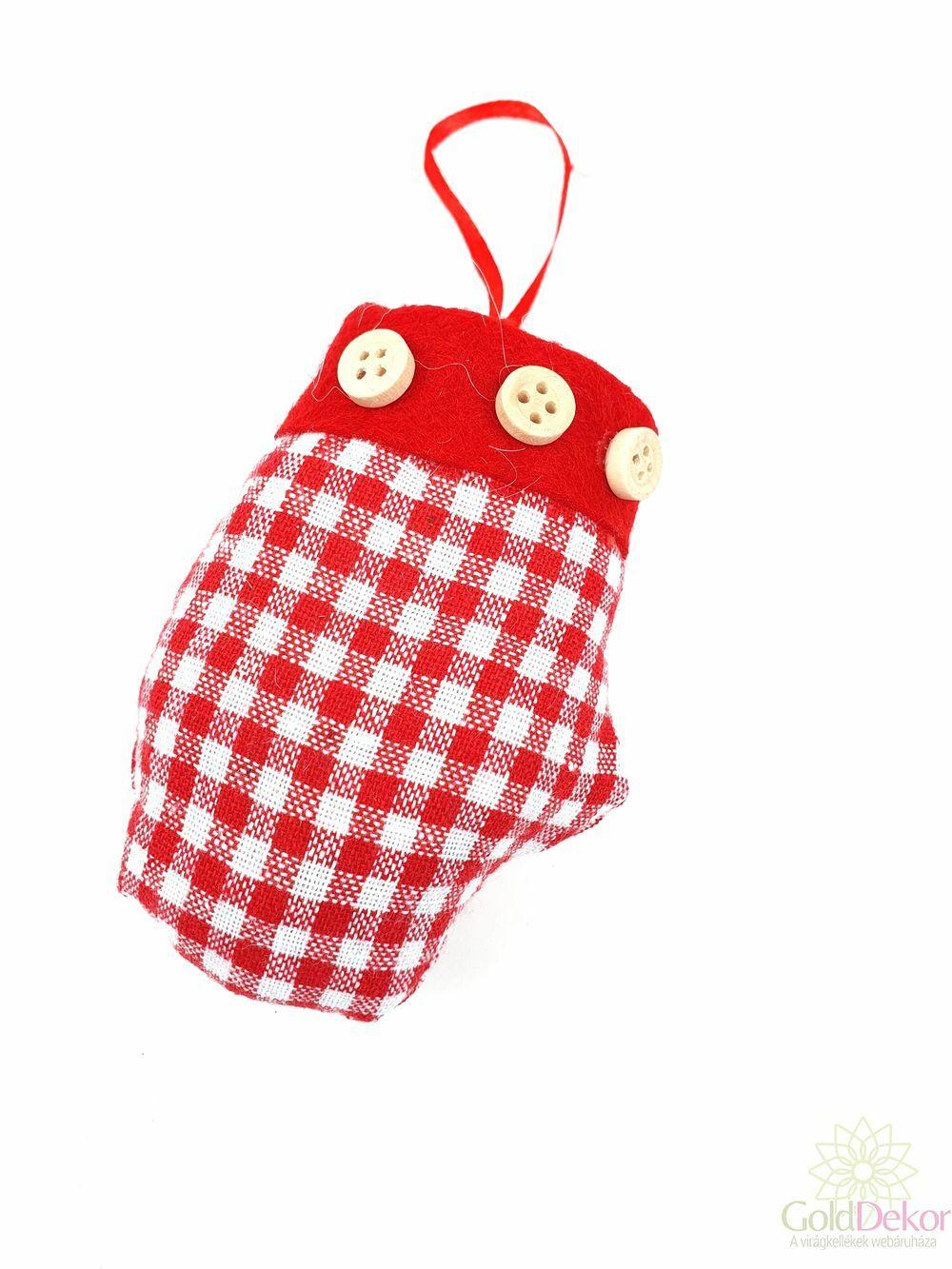 Kockás textil kesztyű