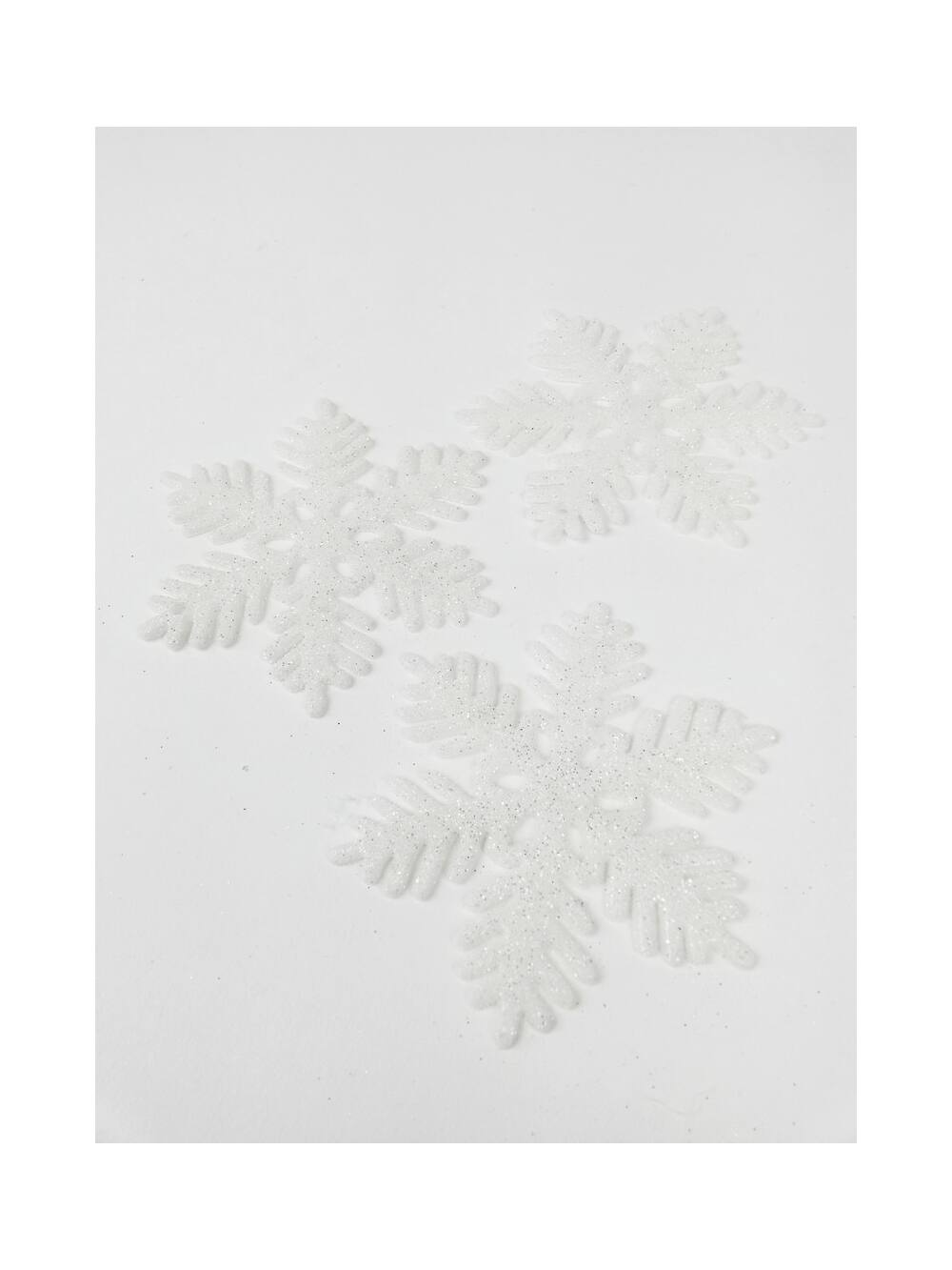 Műanyag csillámos hópihe 9 cm