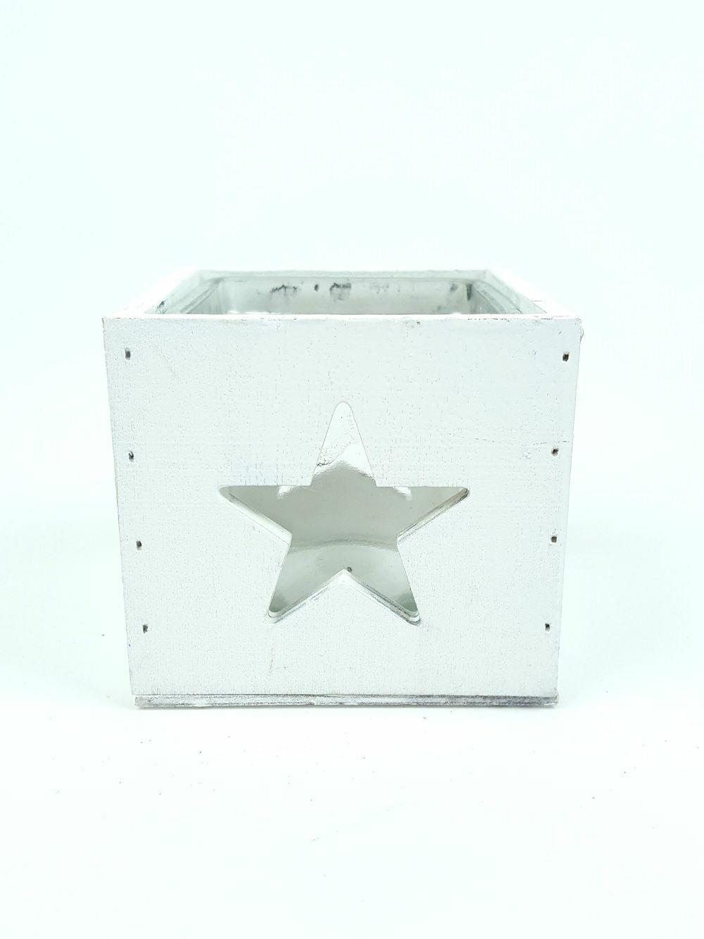 Üvegbetétes kocka mécsestartó - Fehér