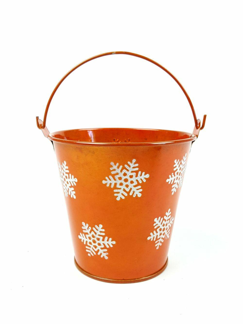 Hópelyhes metál bádog vödör - Narancs