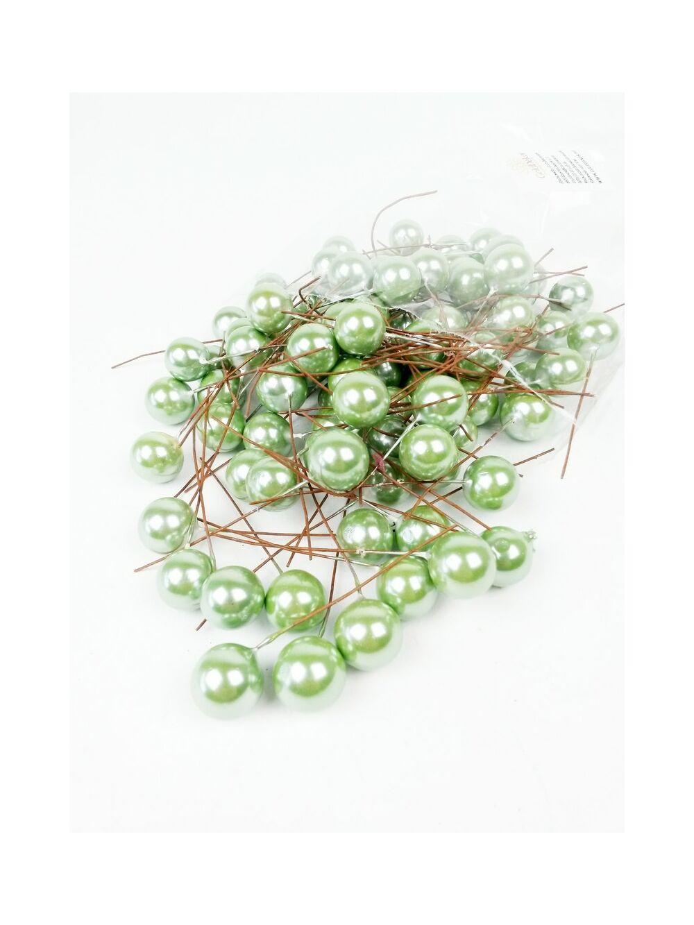 Gyöngyházas drótos bogyó - Zöld