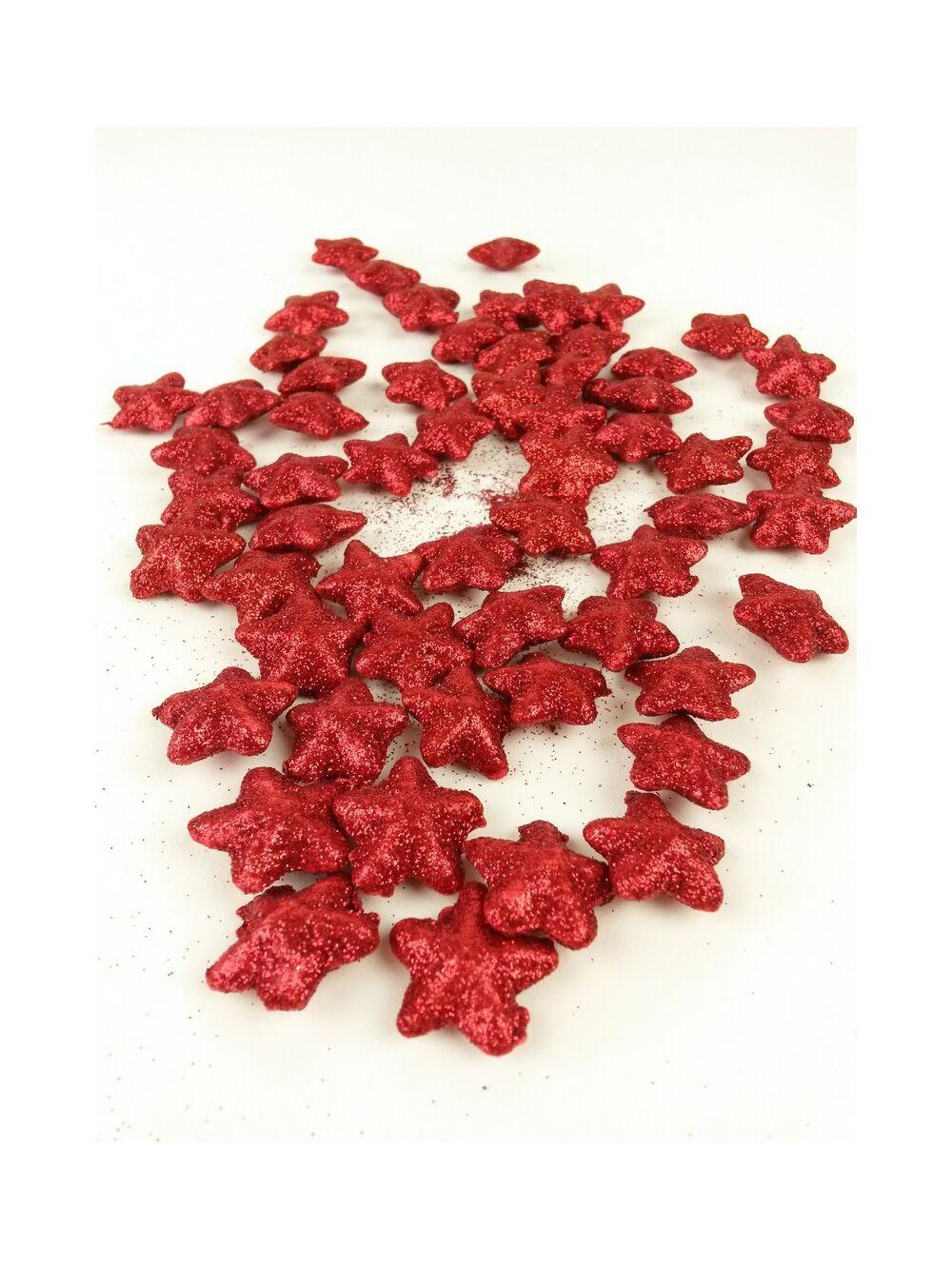 Glitteres csillag kicsi- Piros