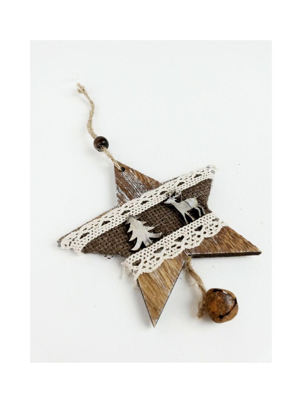 Rusztikus fa dísz csipkével kicsi - Csillag