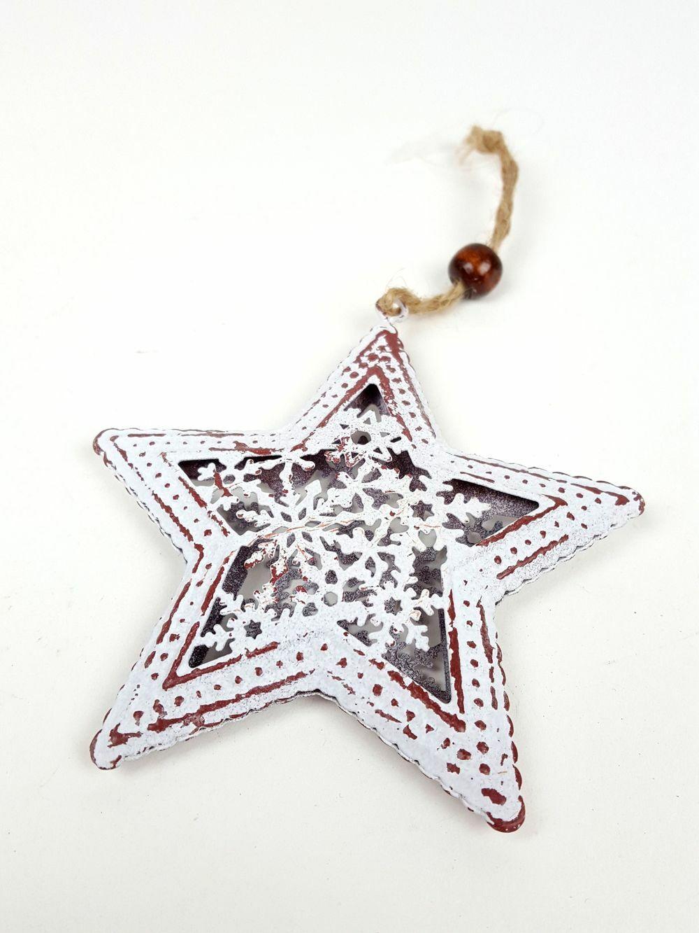 Hópelyhes közepű antikolt fém csillag