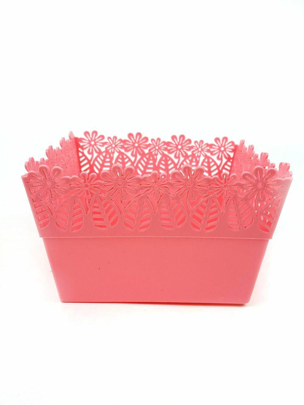 Műanyag láda virágos - Rózsaszín