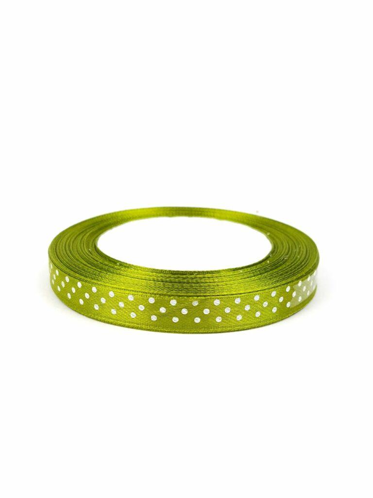 Szatén szalag 1 cm pöttyös - Zöld c19f8a458f