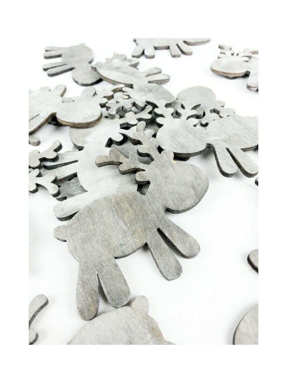 Fa dekor rénszarvas játékos - Szürke