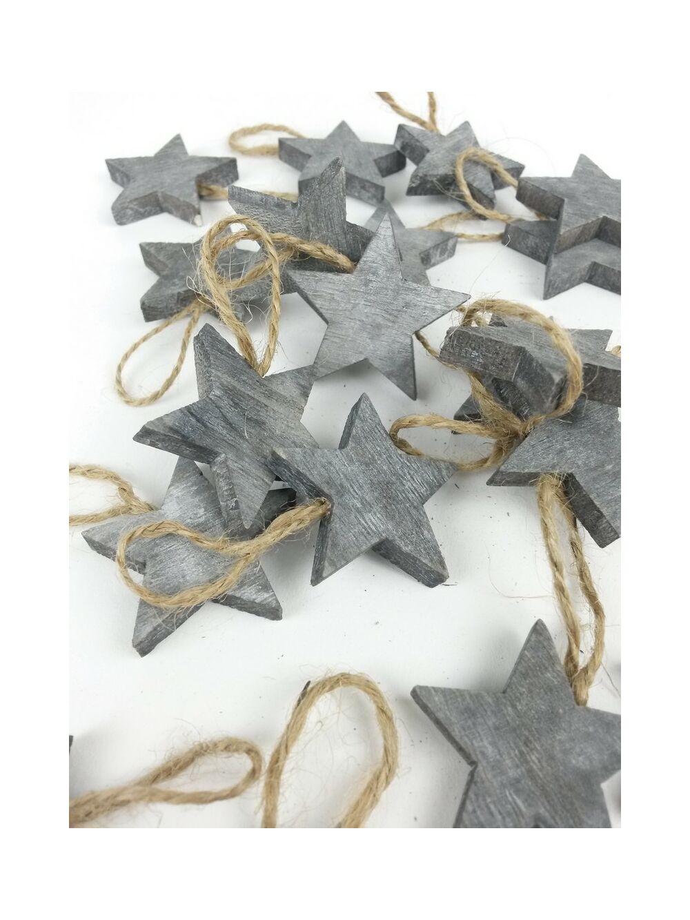 Akasztós rusztikus fa csillagok - Szürke
