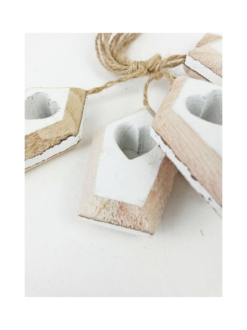 Zsinóros fa dekor házikó - Fehér