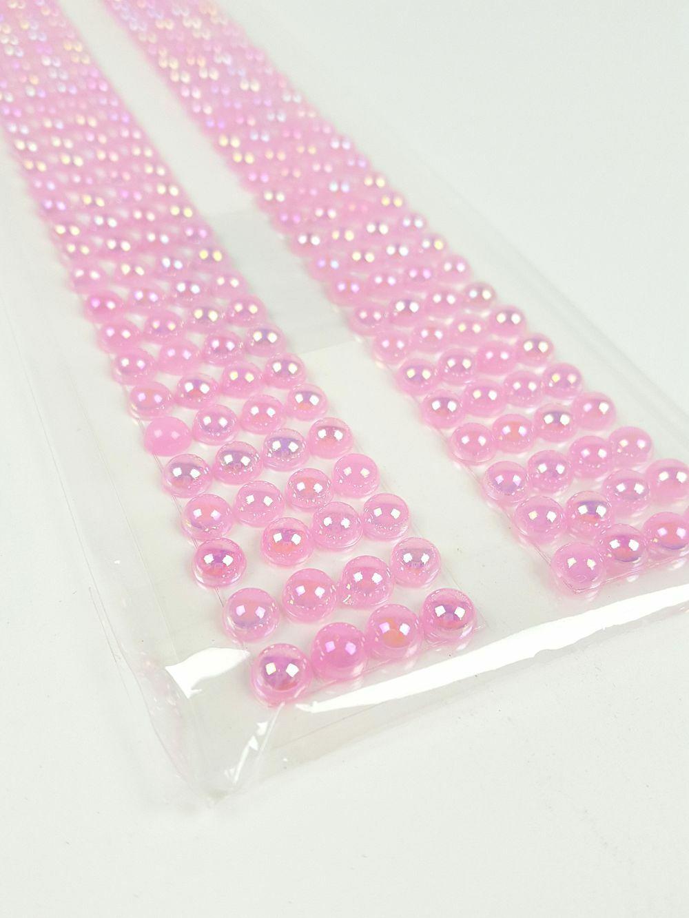 Öntapadós strassz fél gyöngy - Rózsaszín
