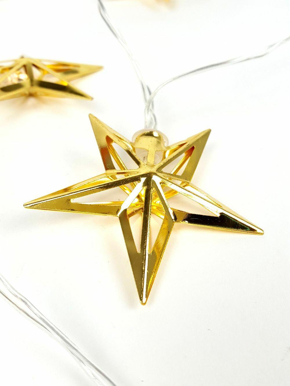 Fém LED girland - Áttört csillag