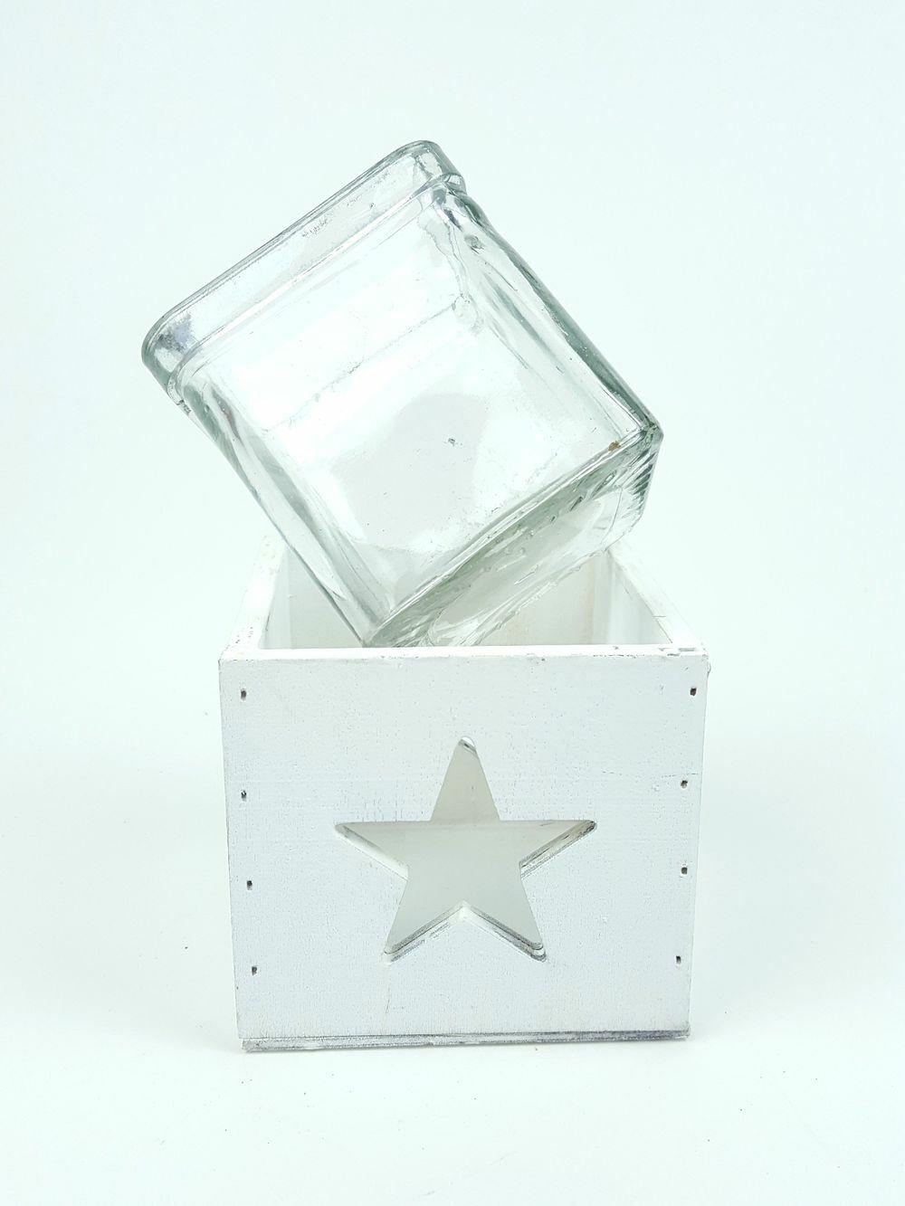 Üvegbetétes kocka mécsestartó - Szürke