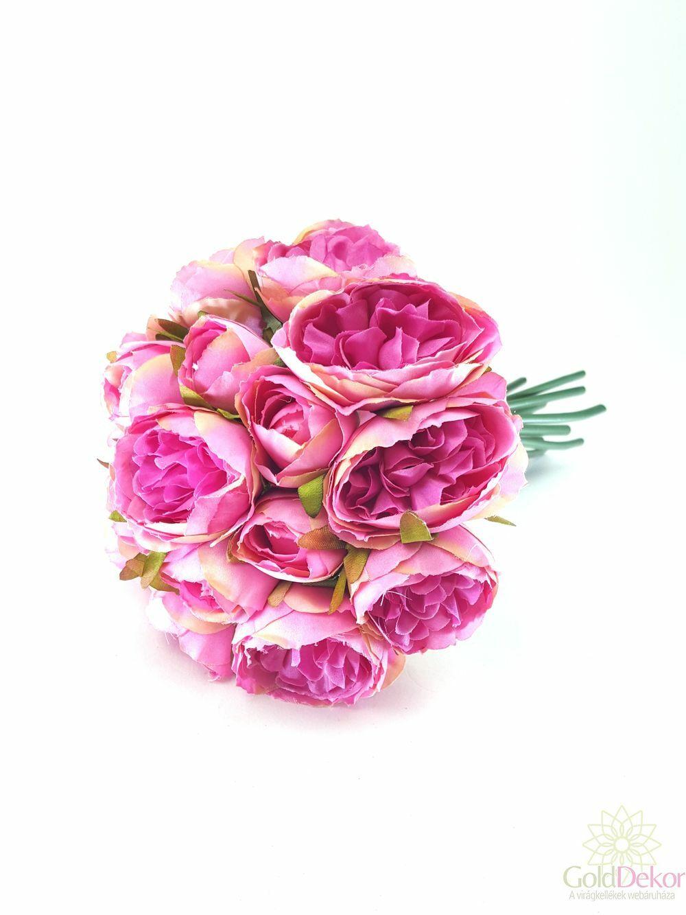 Telt virágú peonia dekor csokor - Pink