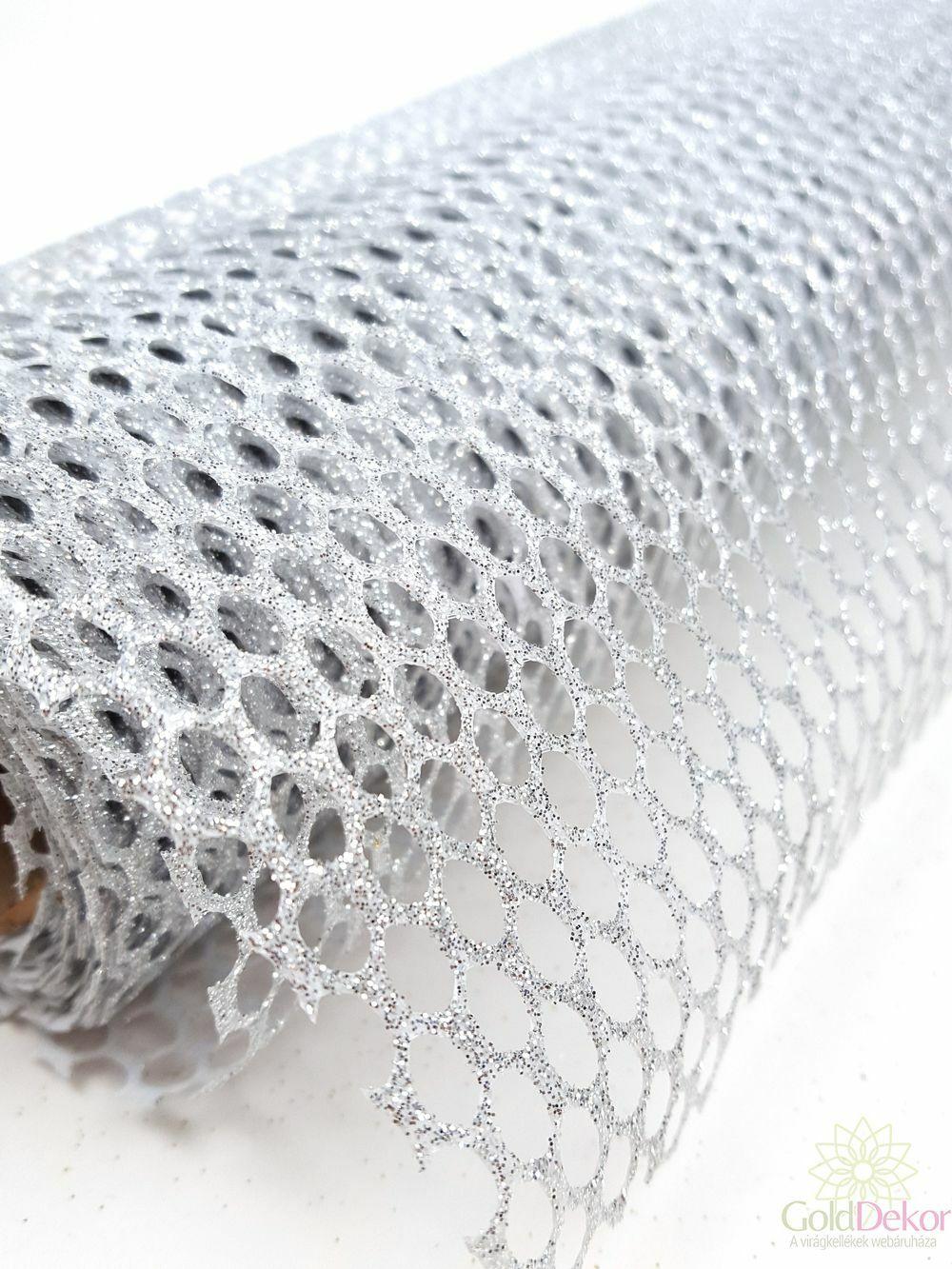 Csillámos méhsejtes háló - Ezüst