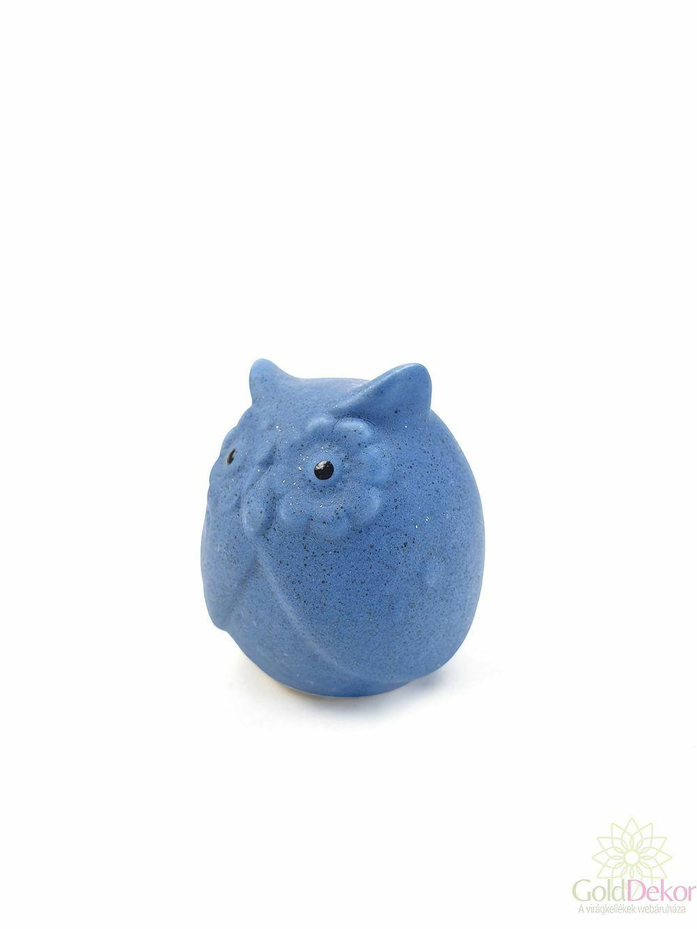 Színes kerámia bagoly - Kék