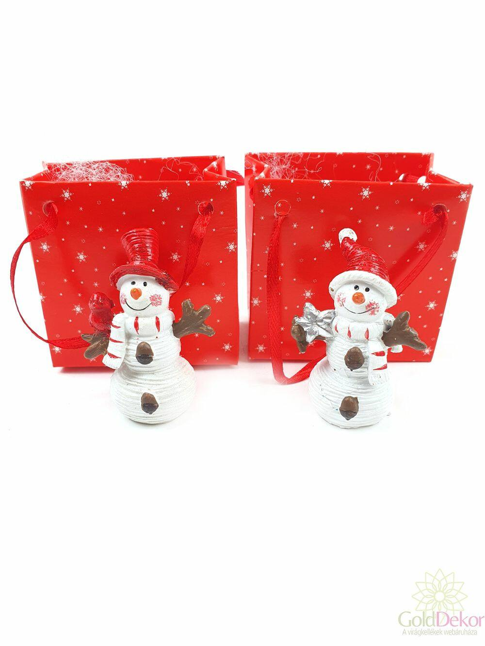 Karácsonyi tasakos figura - Piros sapkás hóember