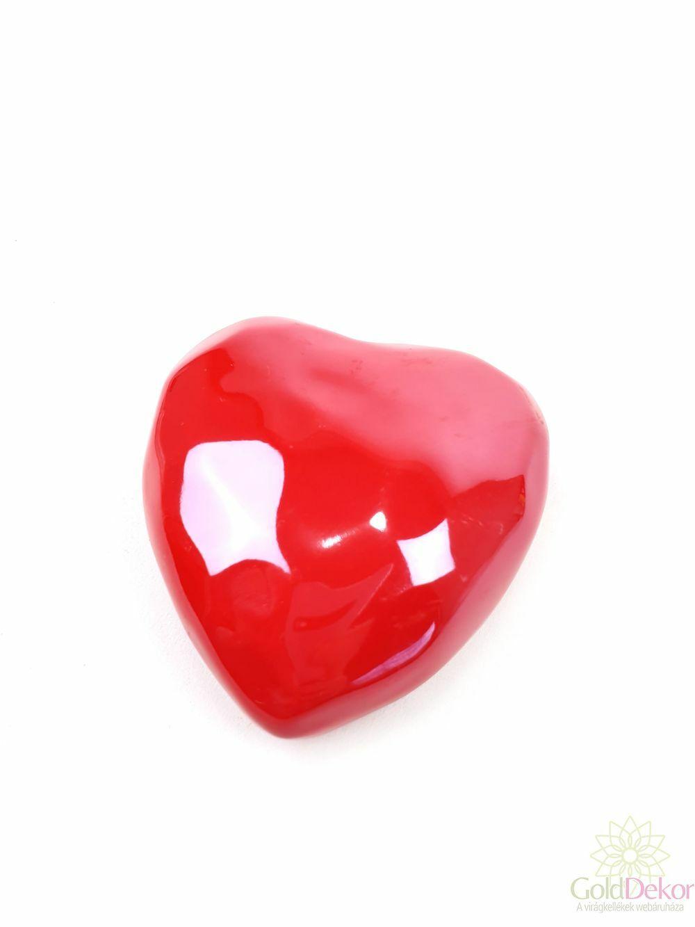 Gyöngyházas szív 7,5 cm - Piros