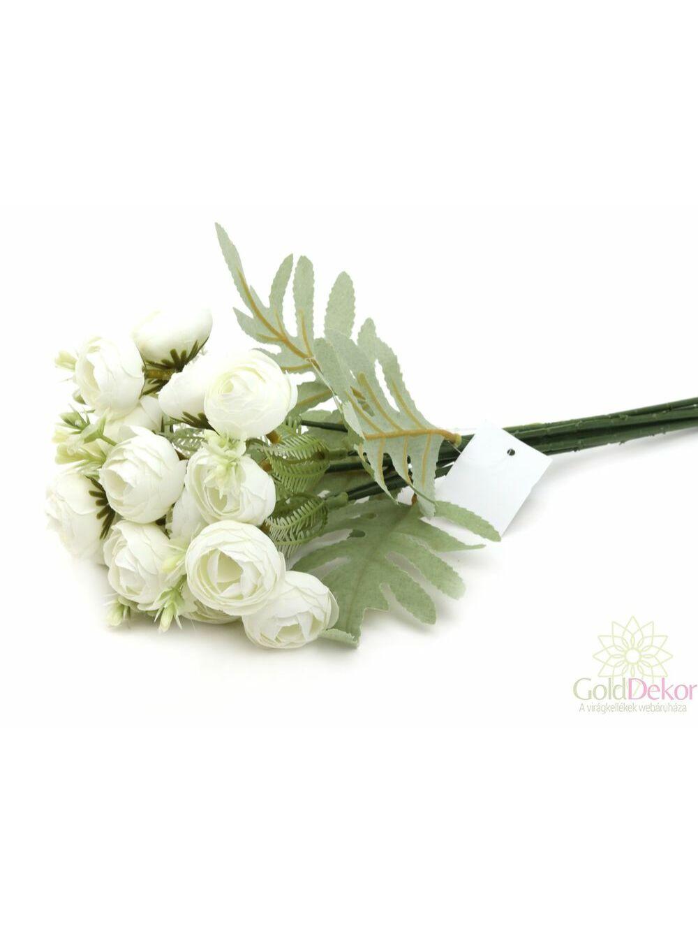 Hamvaslevelű dekor boglárka csokor - Fehér