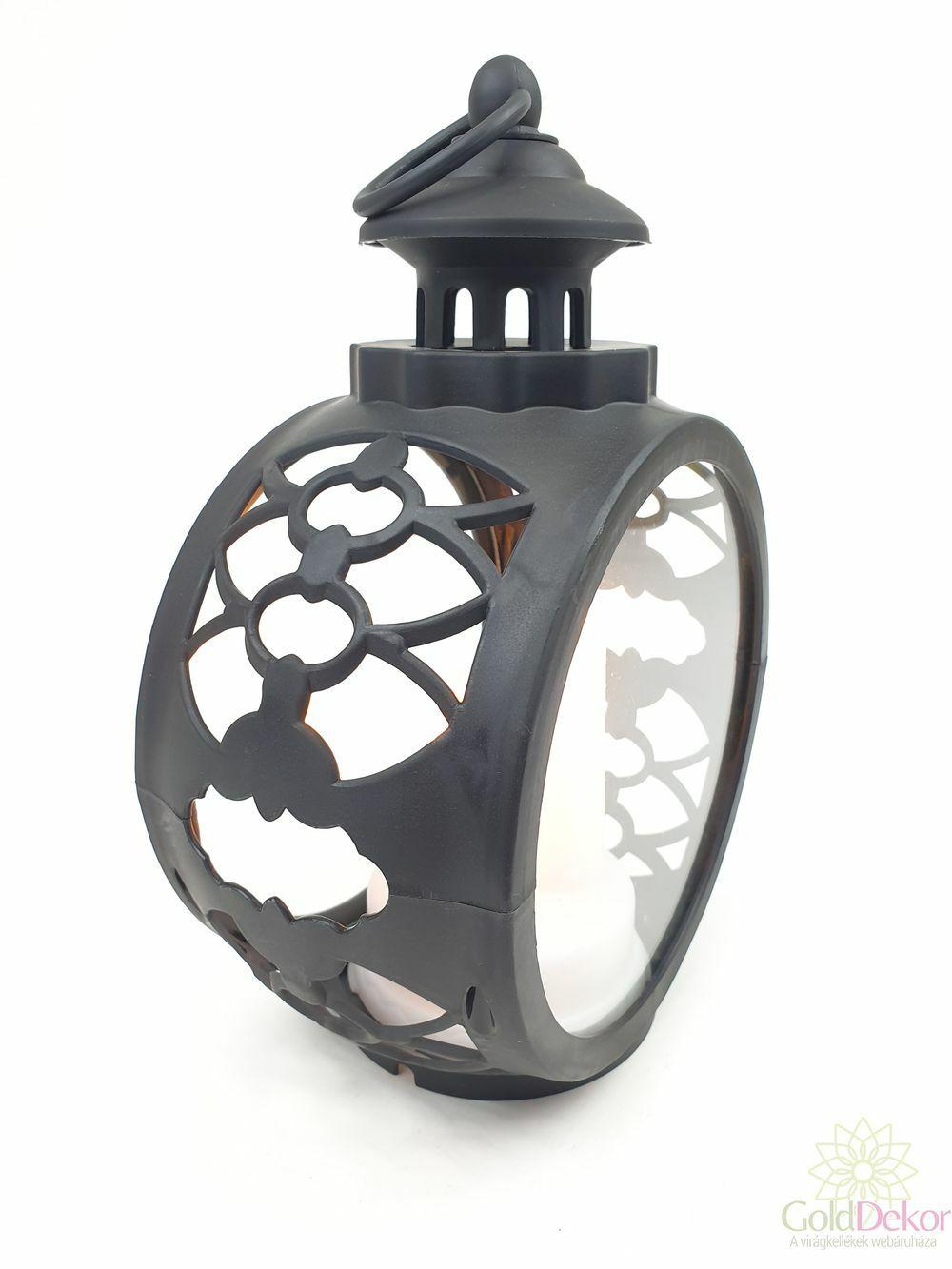 Led lámpás nagy kerek - Fekete