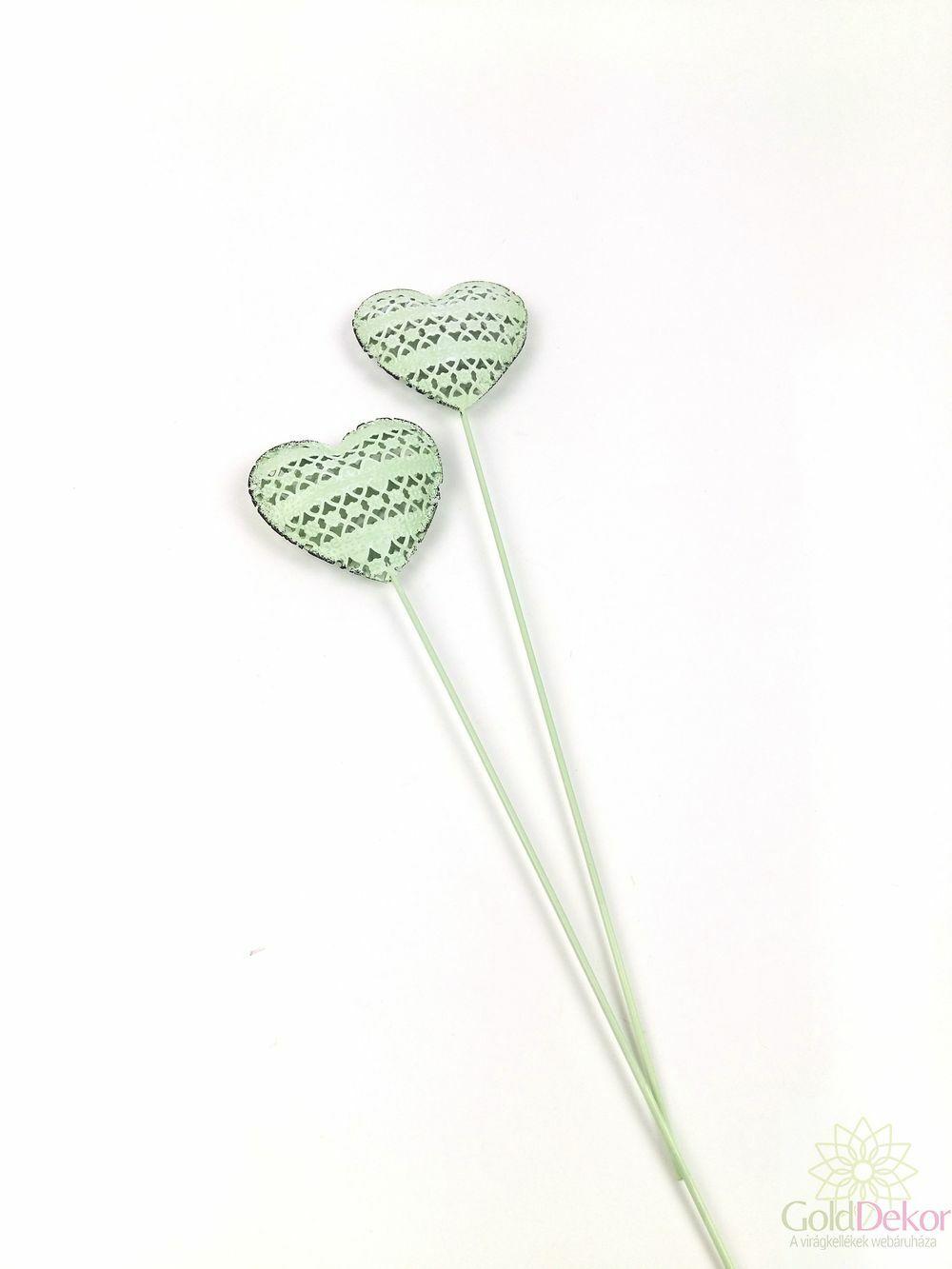 Fém motívumos szív betűző*2 - Zöld