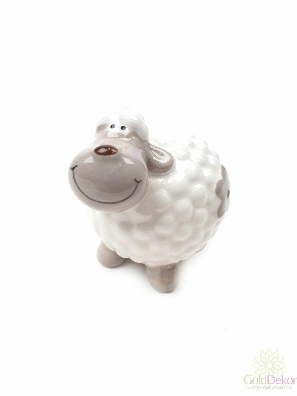 Kerámia virágmintás bárány kicsi - Fehér