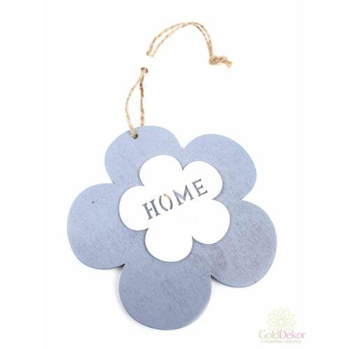 """Akasztós fa virág """"Home"""" - Szürke"""
