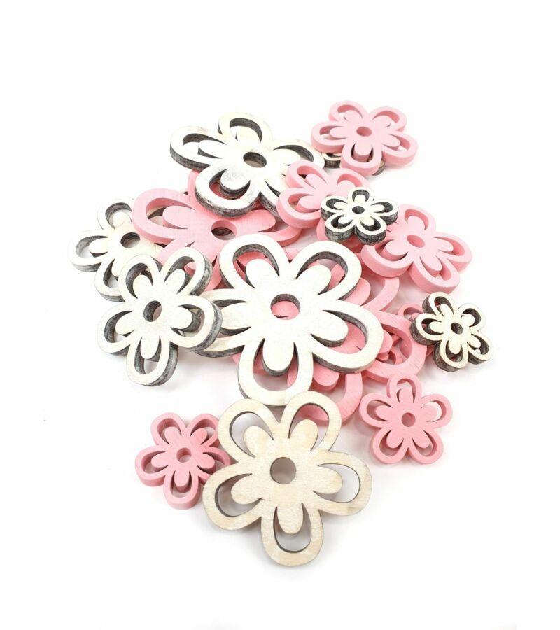 Rózsaszín-natúr fadekor - Virág