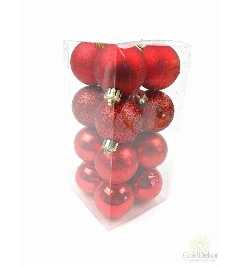 Karácsonyi gömb szett 4féle 4 cm - Piros