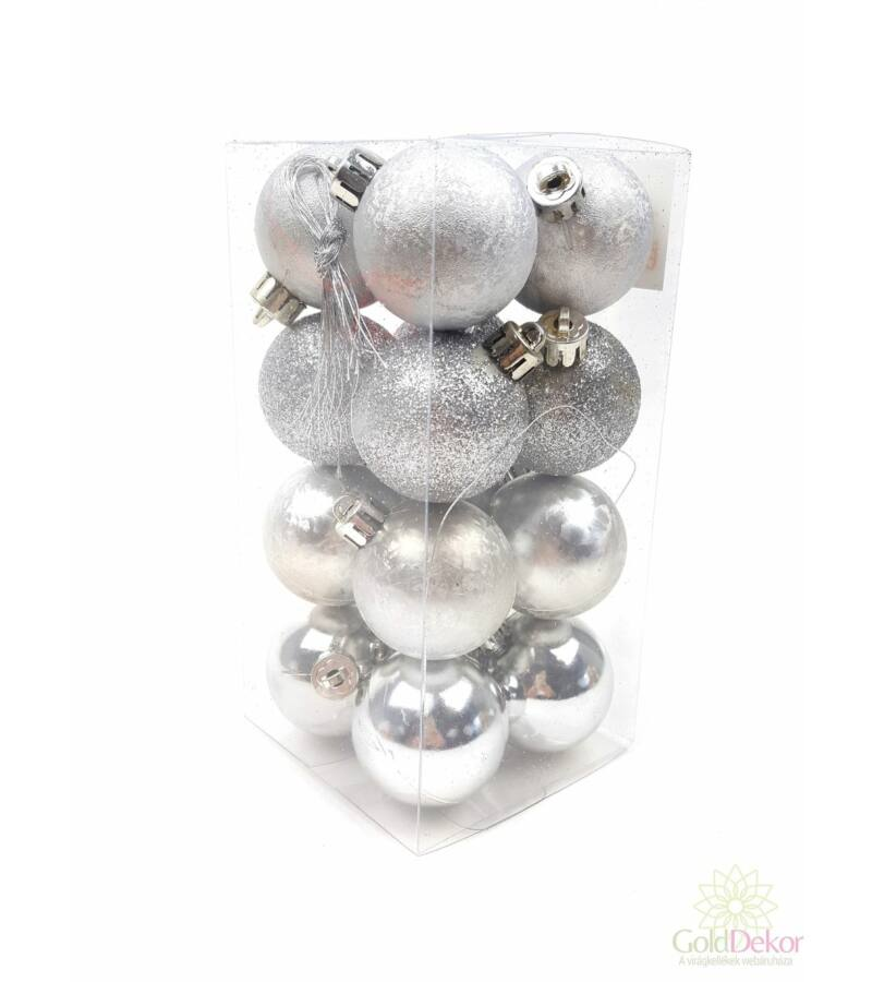 Karácsonyi gömb szett 4féle 4 cm - Ezüst