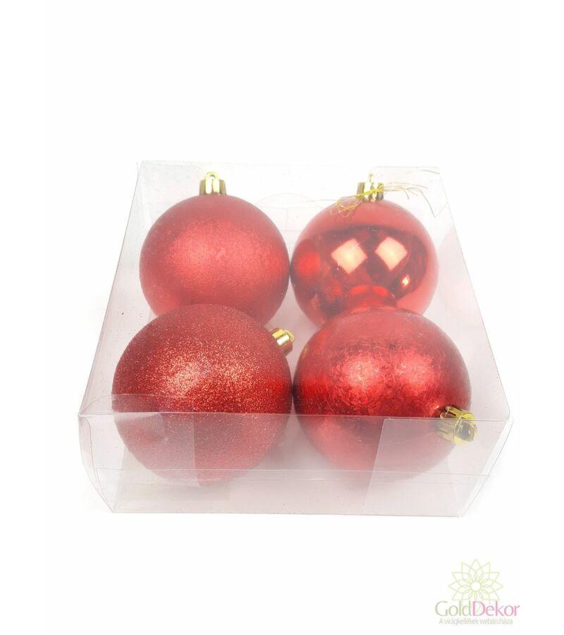 Karácsonyi gömb 8 cm mix - Piros