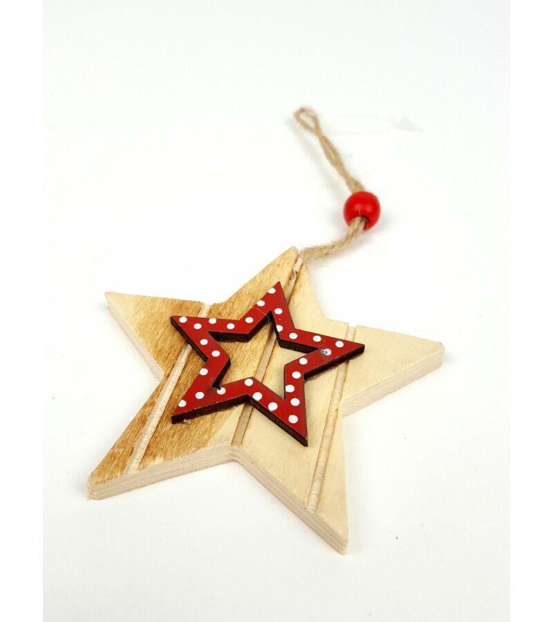 Akasztós fa csillag pöttyös középpel - Piros