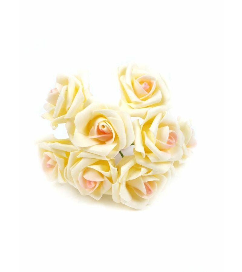 Drótos polyfoam rózsa 22 - Krém-Rózsaszín